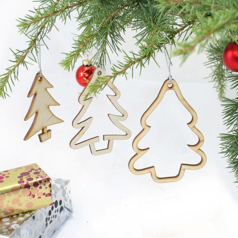productos ecologicos adornos navidenos madera arbol colgando arbol ideas