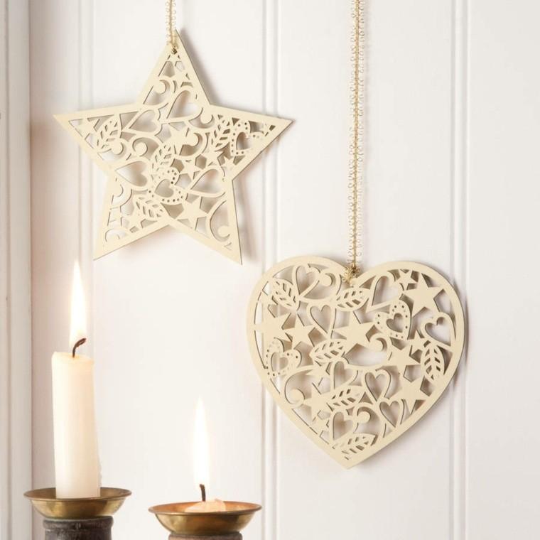 productos ecologicos adornos navidenos madera corazon pared ideas