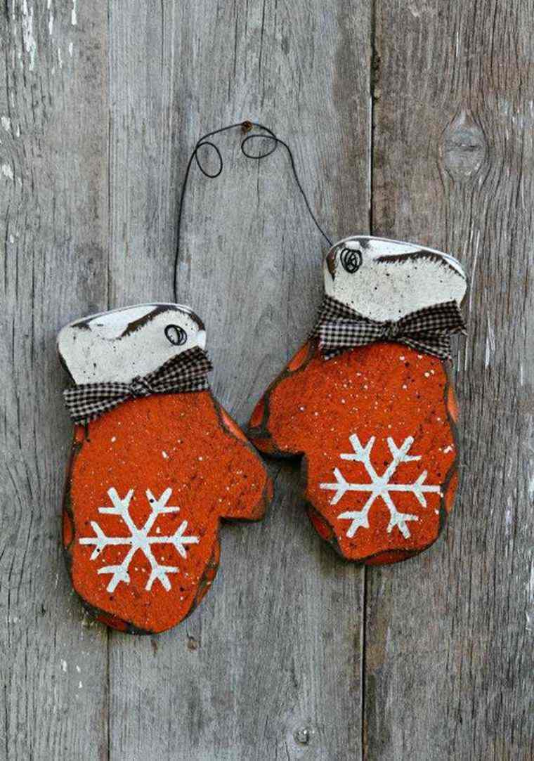 productos ecologicos adornos navidenos madera guantes rojos ideas