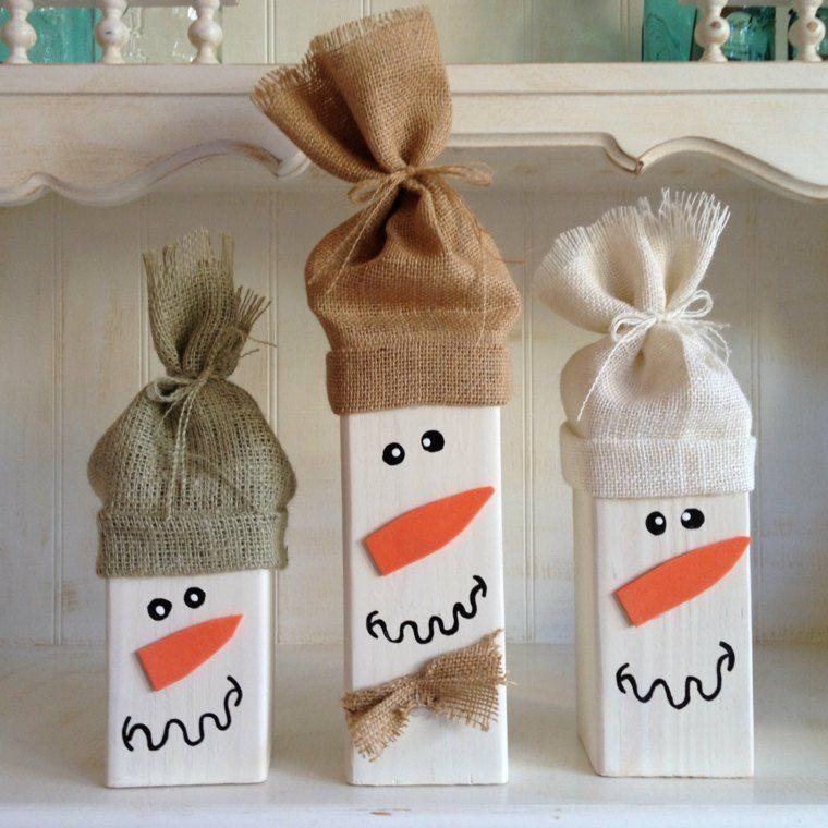 productos ecologicos adornos navidenos madera munecos nieve ideas