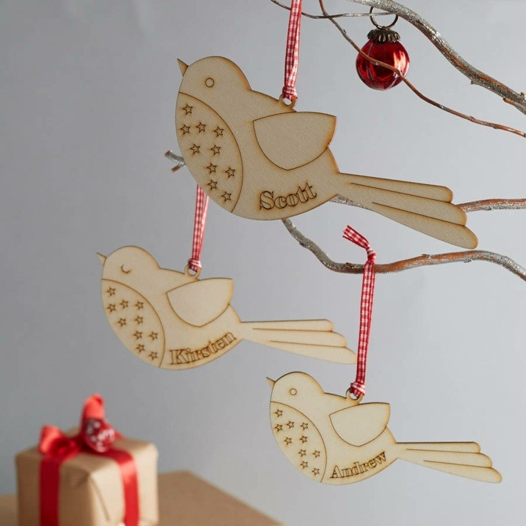productos ecologicos adornos navidenos madera pajaros ideas