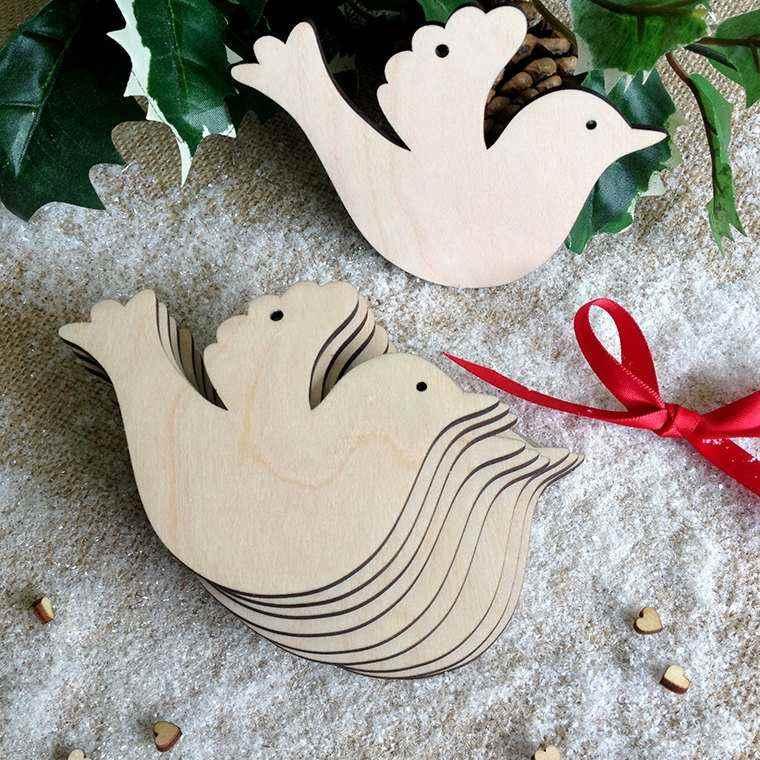 productos adornos navidenos madera palomas ideas