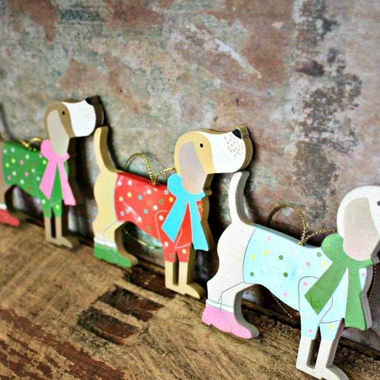 productos adornos navidenos madera perros colores ideas