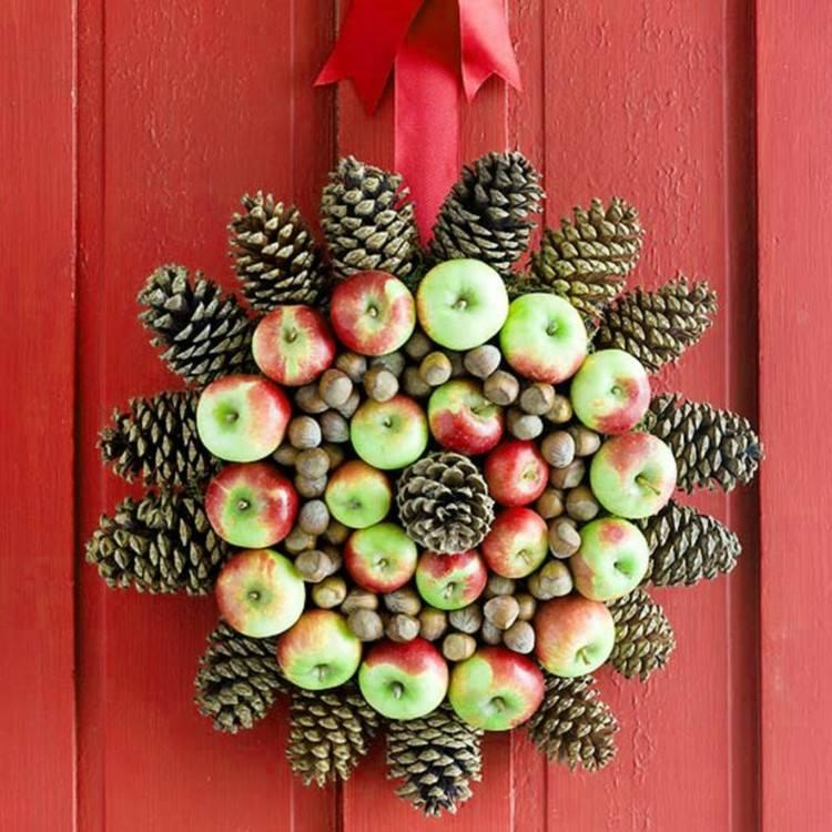 puerta decorado manzanas diseño rojo