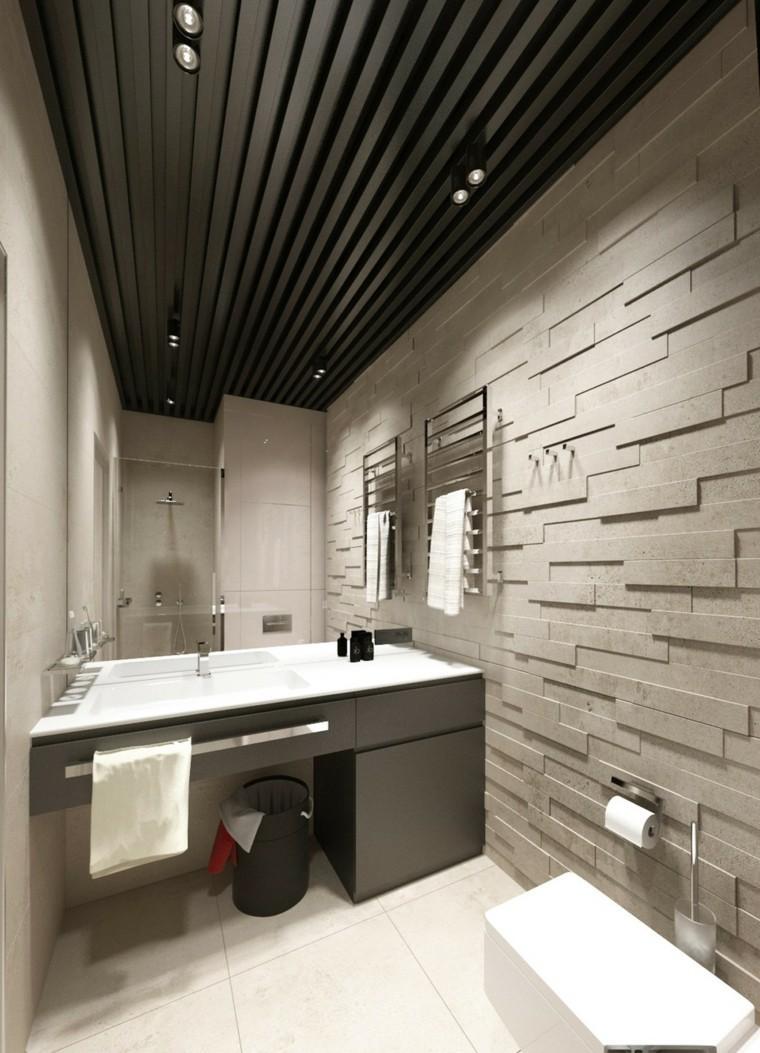 rocas deseño estilo diferente baño gris