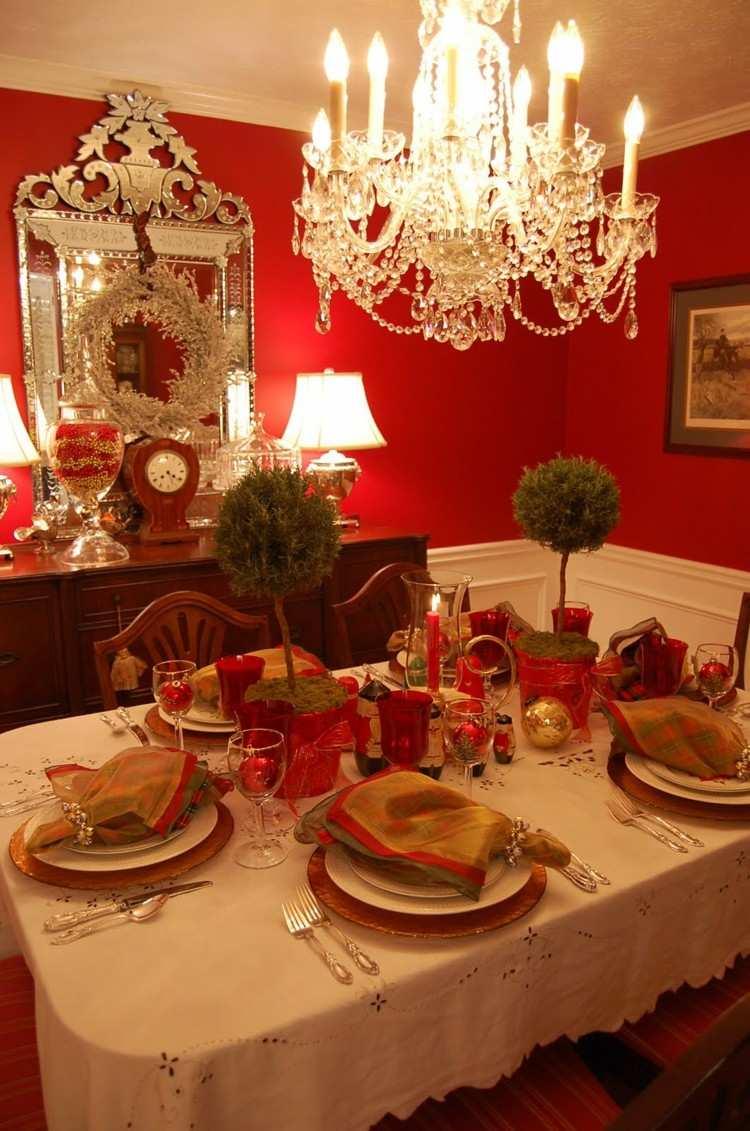 rojo paredes decoracion cubiertos servilletas