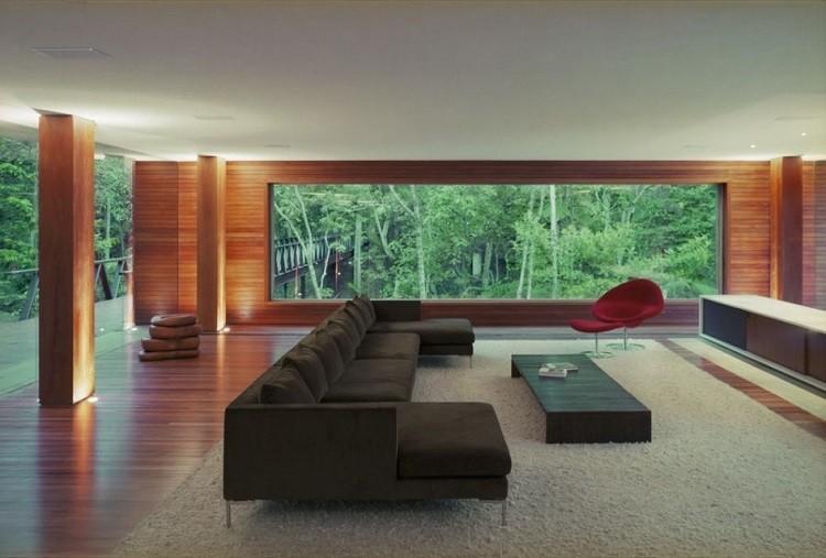 sala estar descando madera marrones patio