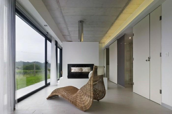 salon terraza vistas chimenea moderna