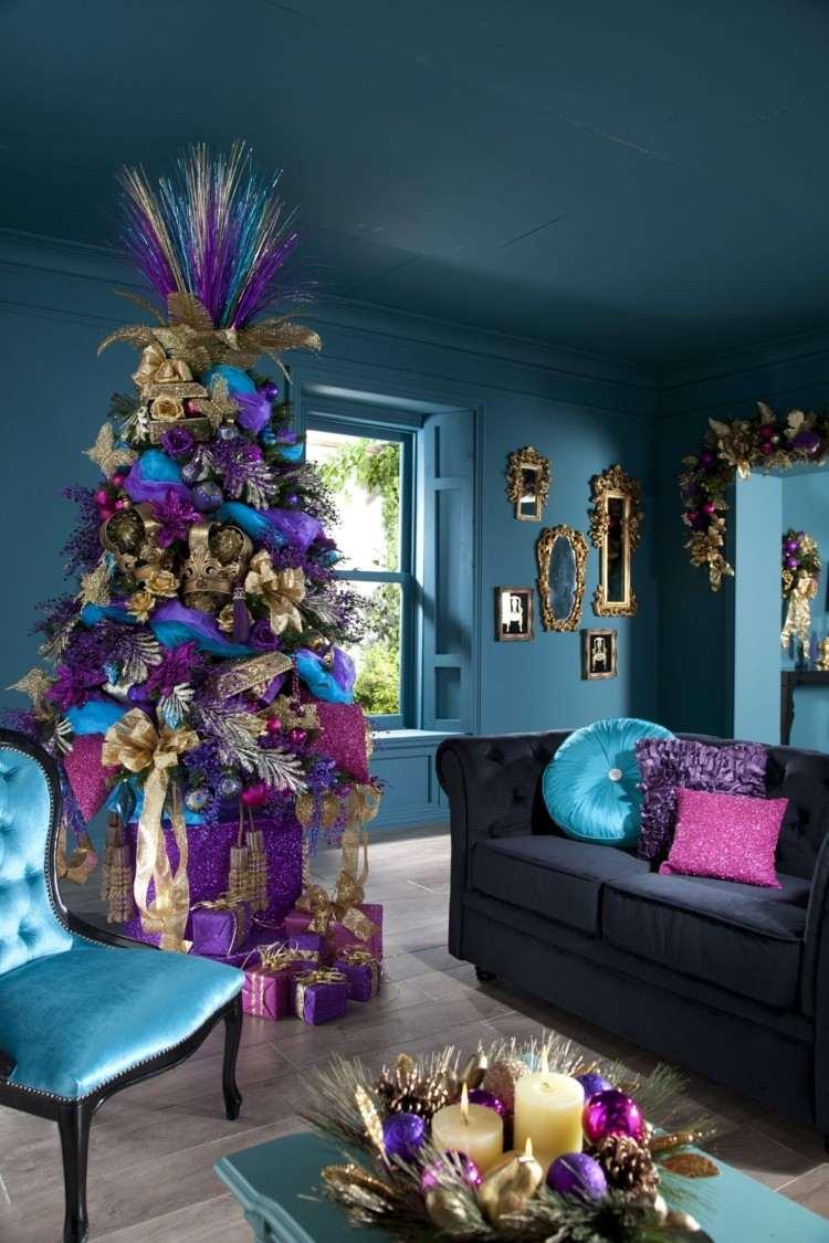 salon azules intenso dorado arboles