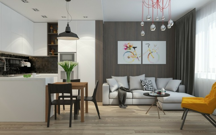 Salon comedor peque o 25 ideas que te impresionaran for Lamparas para apartamentos pequenos