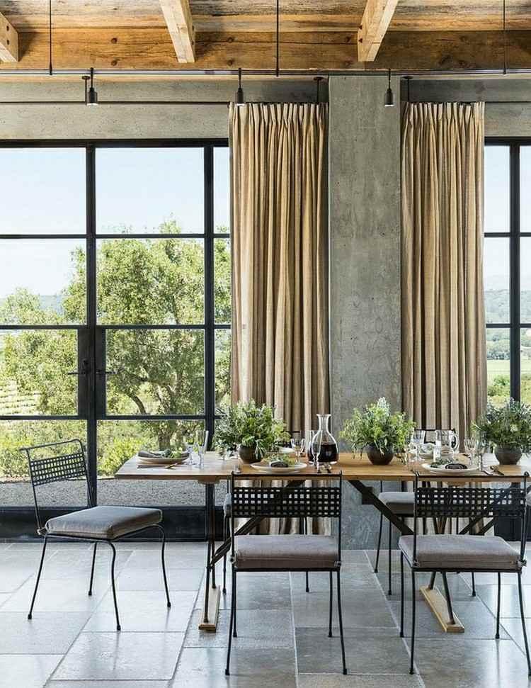 salon comedor vistas jardin gris