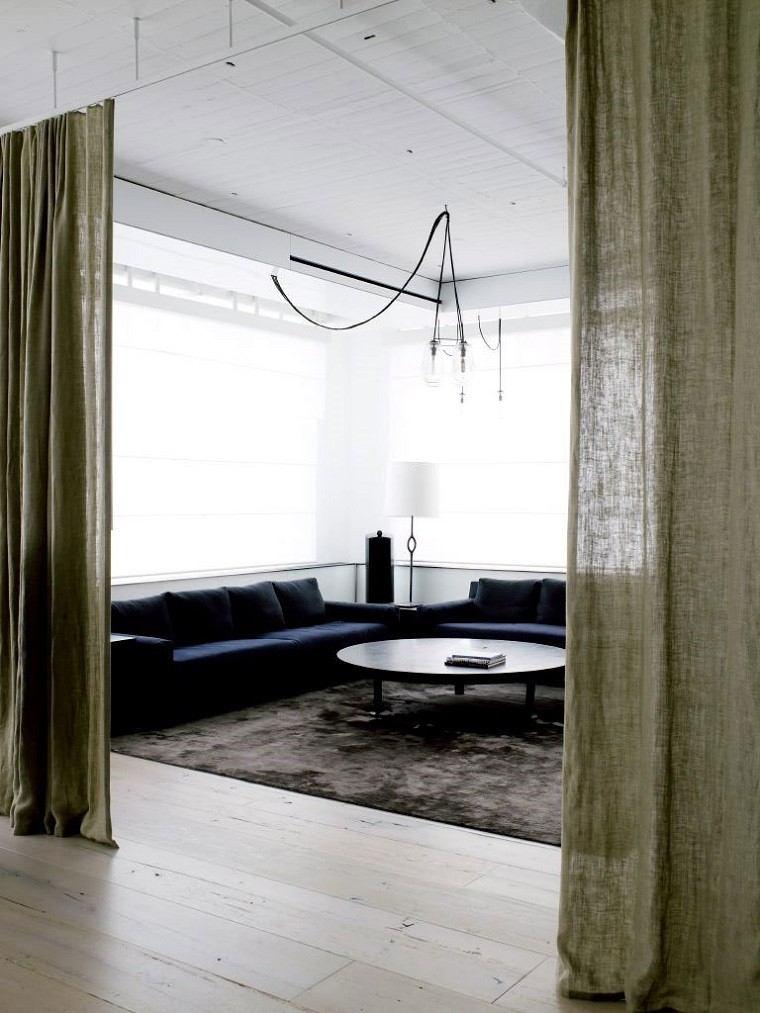 salon cortinas verdes separa espacios casa ideas