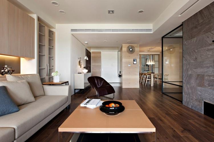 salon diseño moderno suelo madera