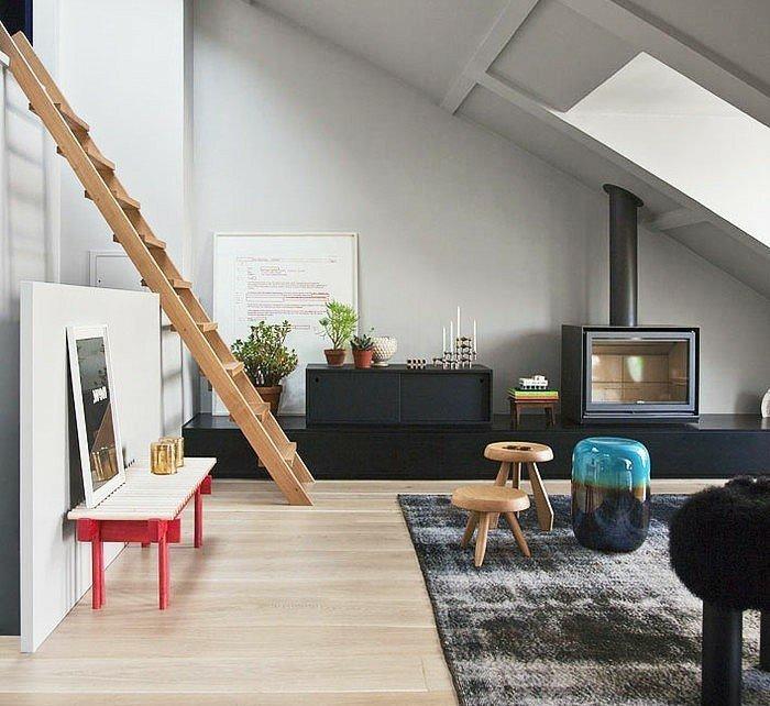 salon escaleras chimenea moderna metal