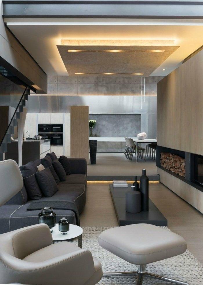salon estilo moderno industrial chimenea