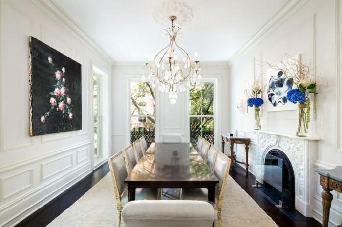salon estilo lujoso blanco chimenea