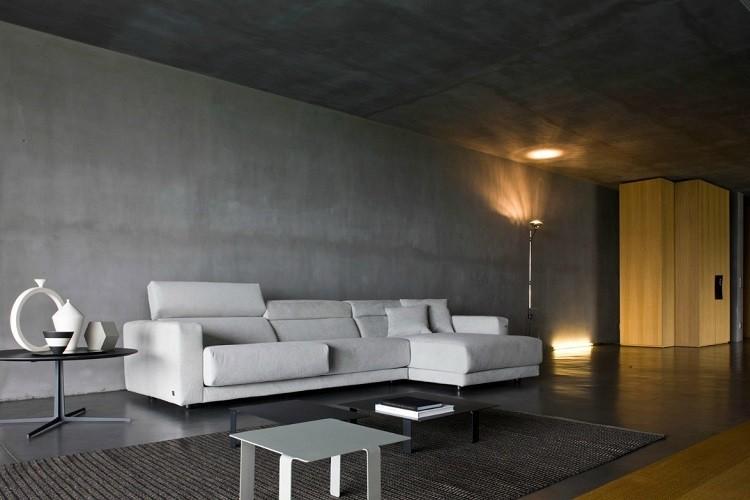 salon moderno cemento color gris