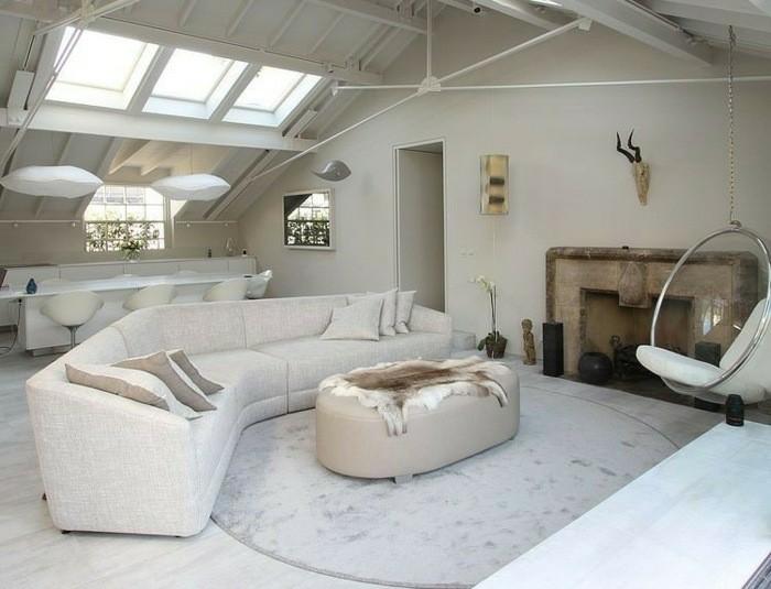 salon moderno chimenea piedra beige