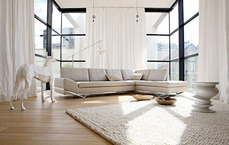 salon moderno cortinas blancas ventanales ideas