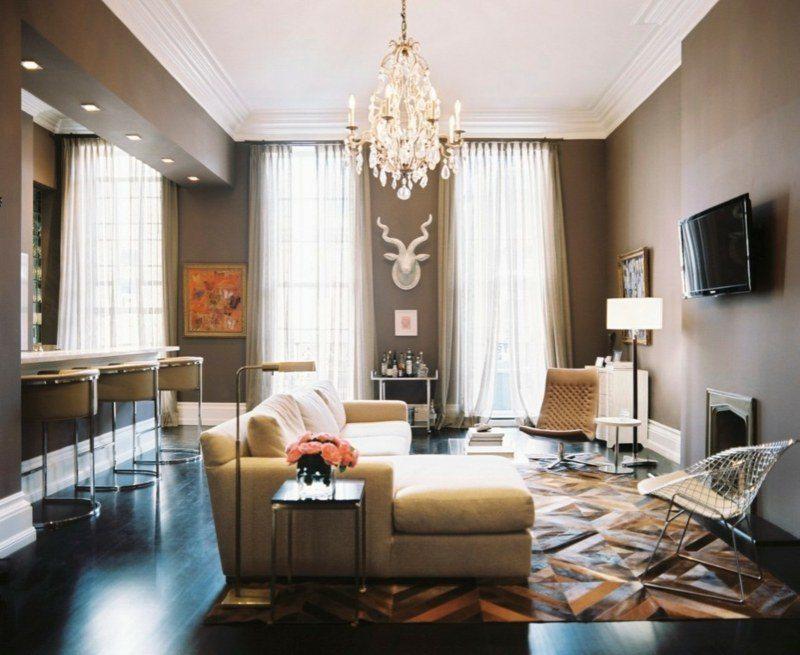 salon moderno ideas paredes color marron cabeza reno blanco
