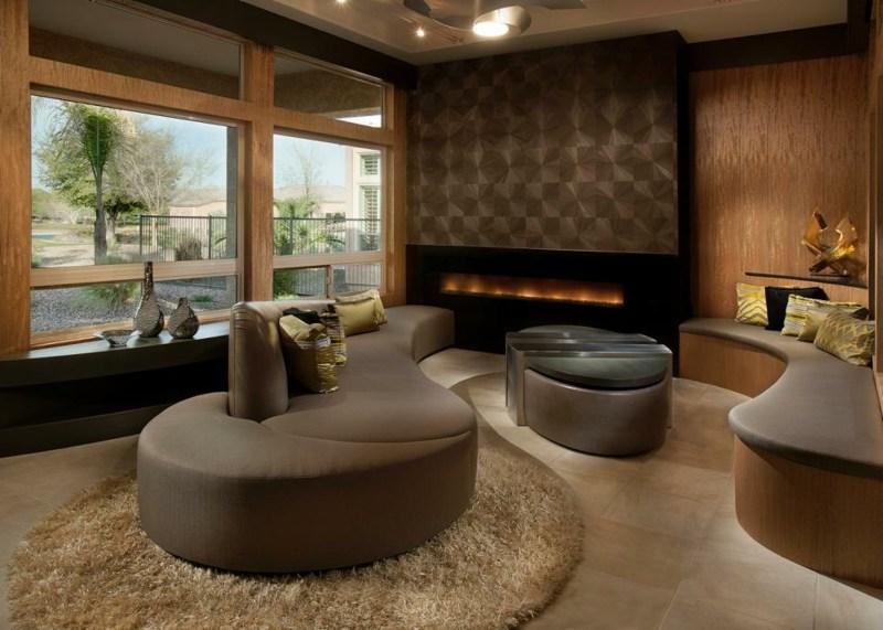 Salon moderno ideas de paredes de color marr n for Decoracion salon marron