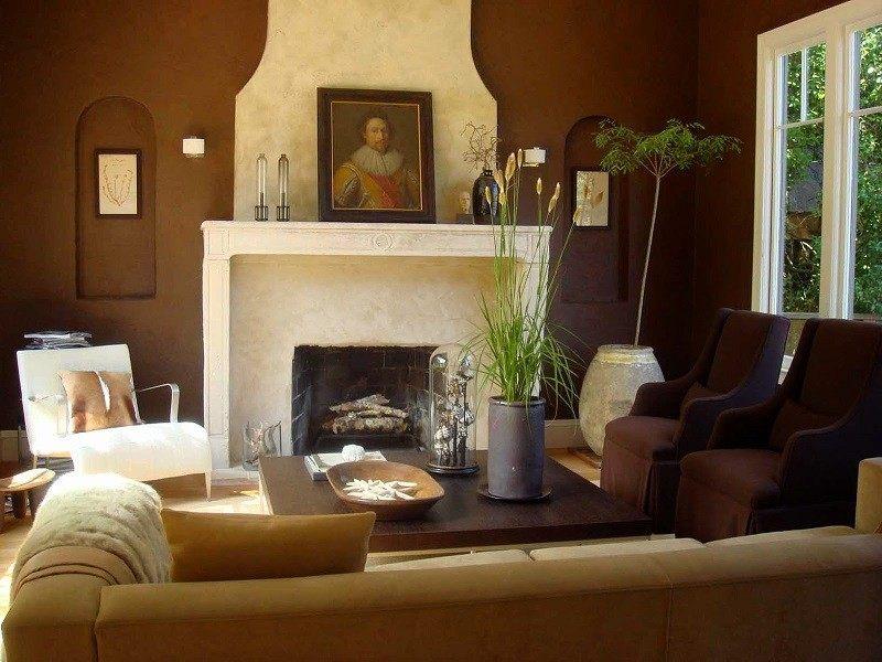 salon moderno ideas paredes color marron chimenea precioso