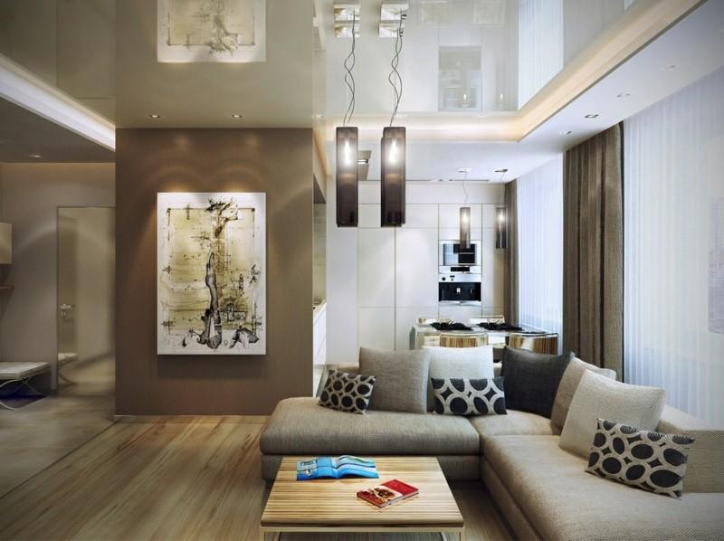 salon moderno ideas paredes color marron cocina preciosa