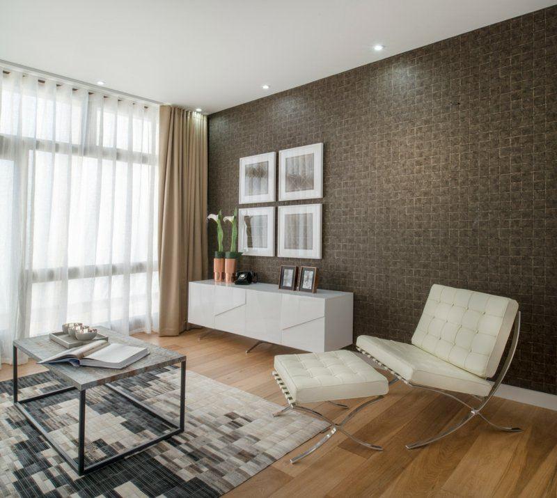 Salon moderno ideas de paredes de color marr n for Cortinas para paredes grises