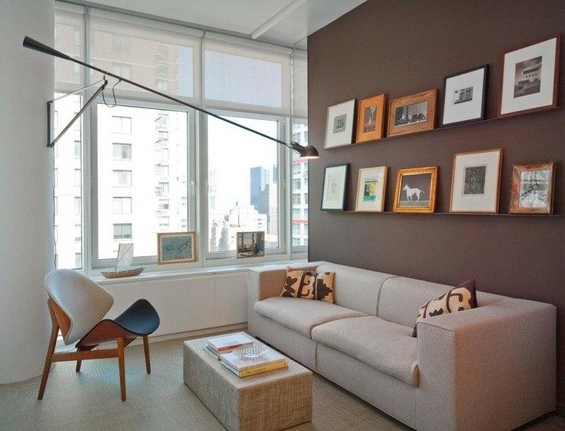 salon moderno ideas paredes color marron cuadros sillon