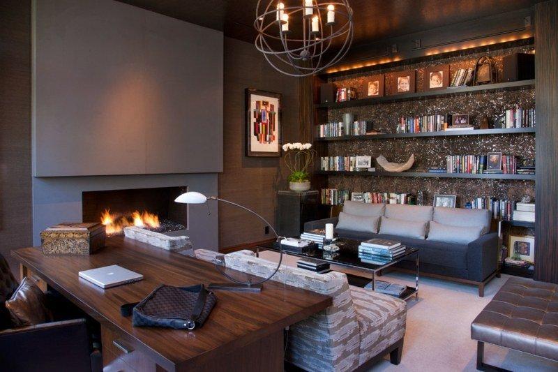 salon moderno paredes color marron escritorio ideas