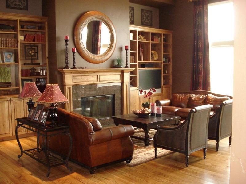 salon moderno paredes color marron espejo ideas