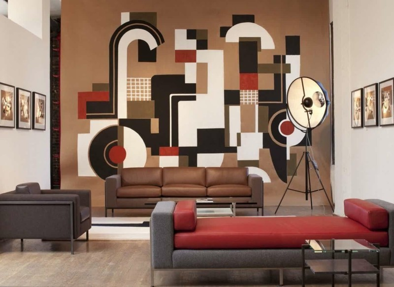 salon moderno paredes color marron estampas colores ideas