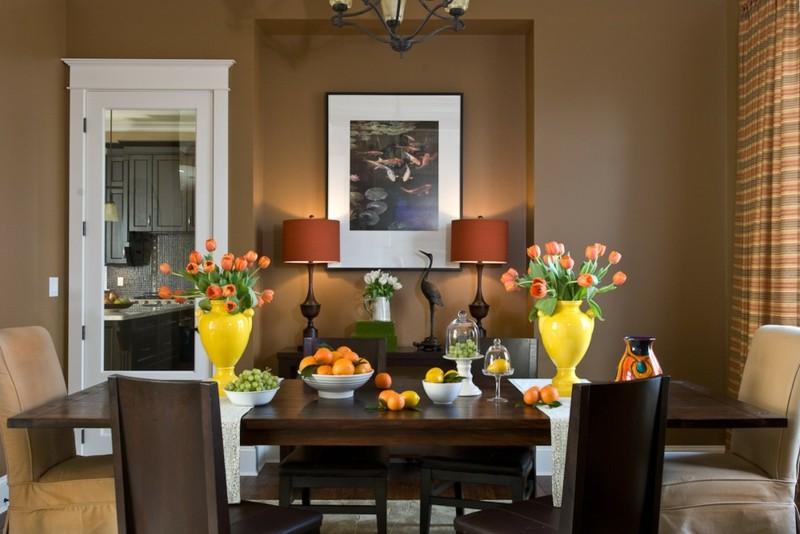 salon moderno paredes color marron jarrones ideas