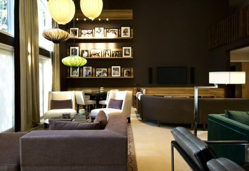 salon moderno paredes color marron lamparas ideas