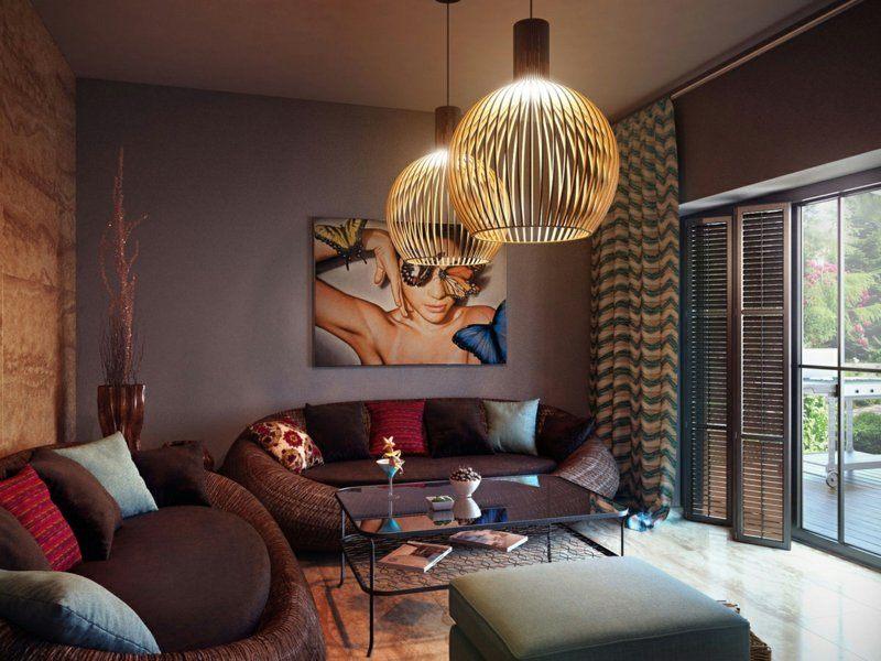 salon moderno paredes color marron mesa cristal ideas
