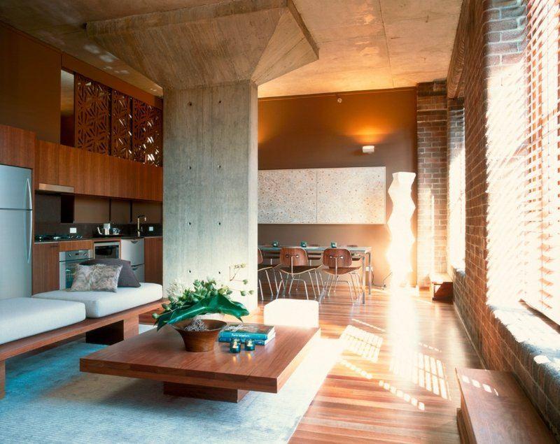 salon moderno ideas paredes color marron mesa madera ideas