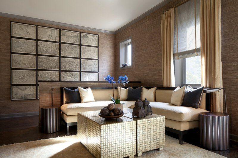 salon moderno paredes color marron mesa plata ideas