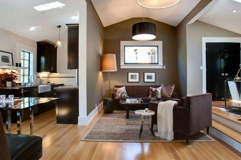 salon moderno paredes color marron pared separadora ideas