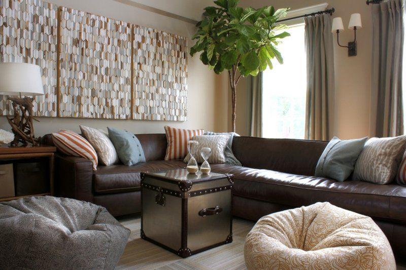 salon moderno paredes color marron planta preciosa ideas