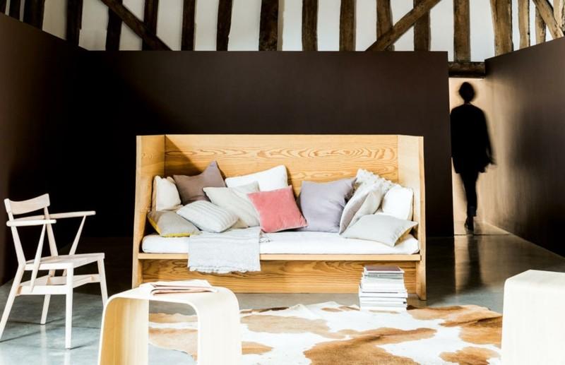 salon moderno paredes color marron silla madera ideas