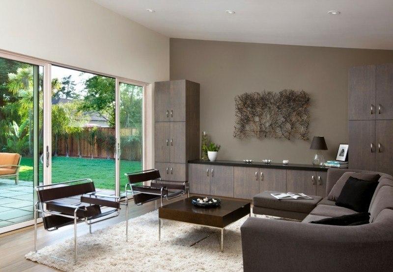 Salon moderno ideas de paredes de color marr n - Ideas para pintar un salon moderno ...