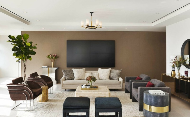 salon moderno paredes color marron televisor ideas