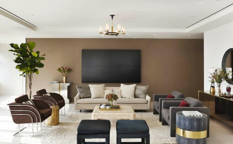 salon moderno paredes color marron televisor ideas