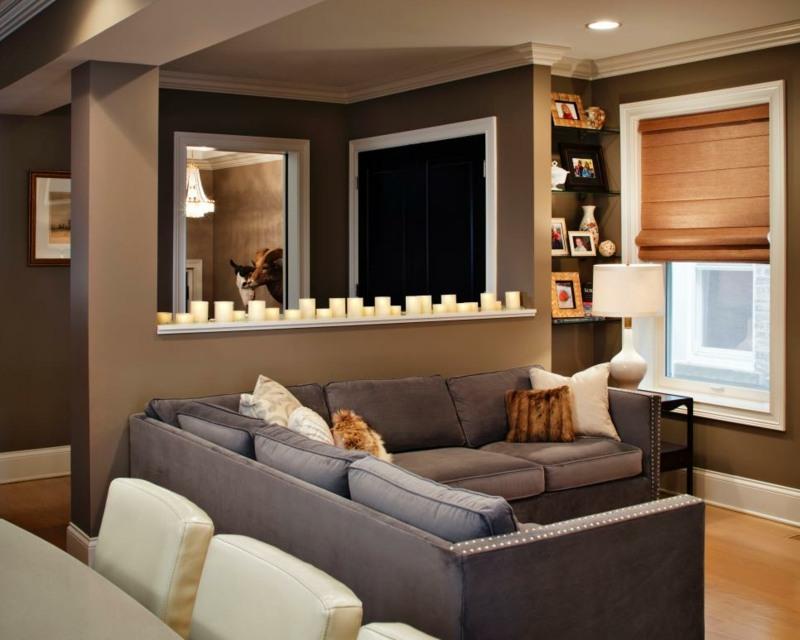 salon moderno paredes color marron velas ideas