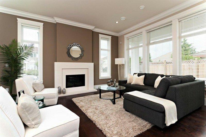 salon moderno ideas paredes color marron chimenea blanca prciosa