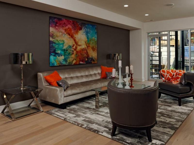 salon moderno ideas paredes color marron cuadro llamativo precioso