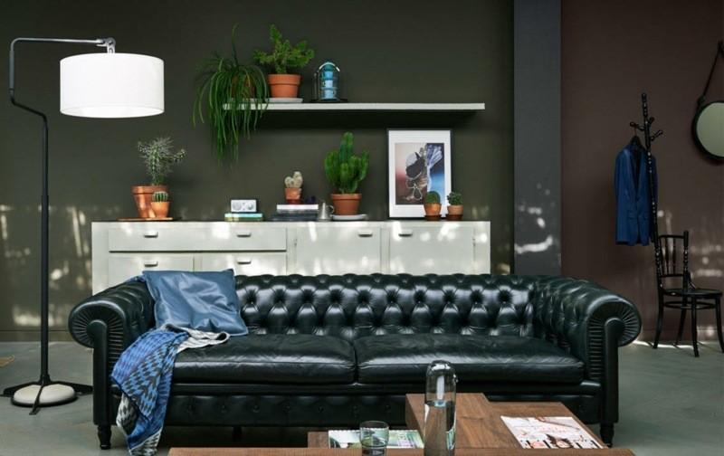 salon moderno paredes color marron sofa negra ideas