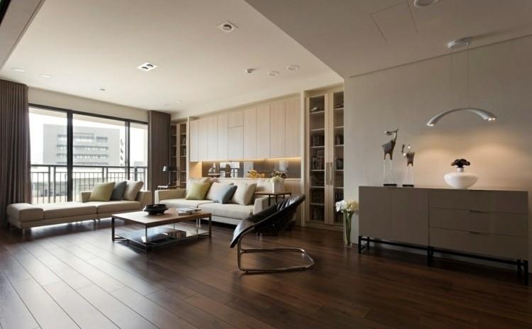 salon moderno suelo madera laminada