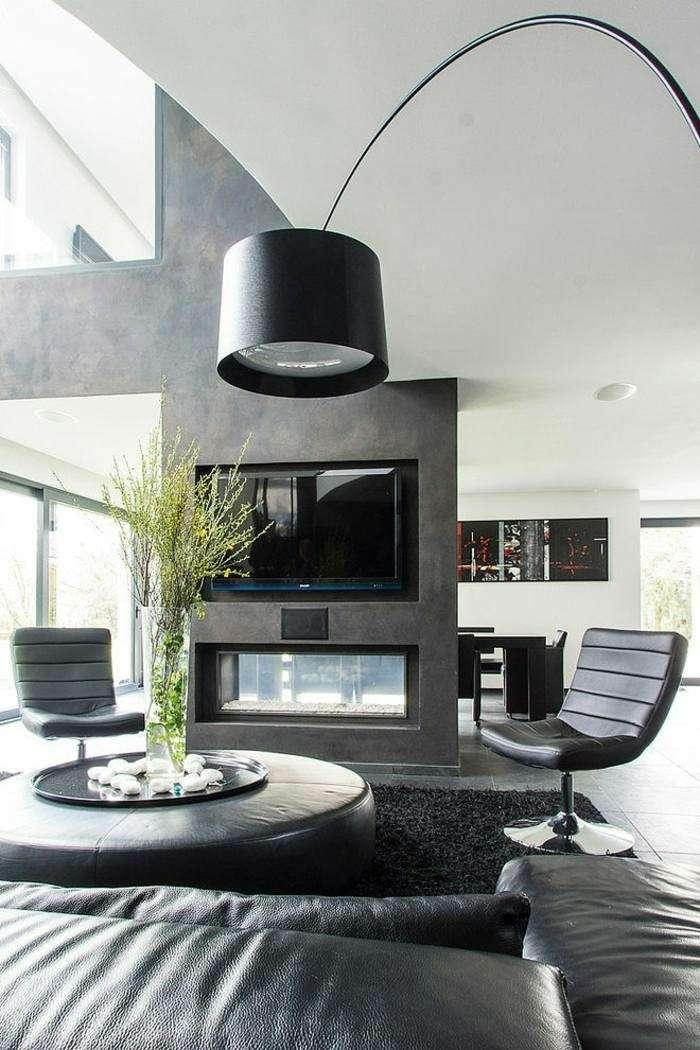 Chimeneas modernas para salas de estar exquisitas - Cortinas para salon estilo moderno ...