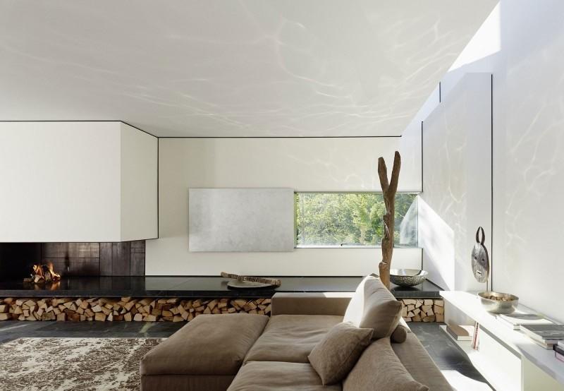 salon precioso chimenea sofa beige moderna ideas